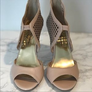 Jessica Simpson nude tan caged heels size 7.5
